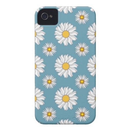 Cute Daisies and Flowers White and Blue Case-Mate iPhone 4 Cases