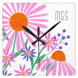 Cute Daisies custom monogram wall clock