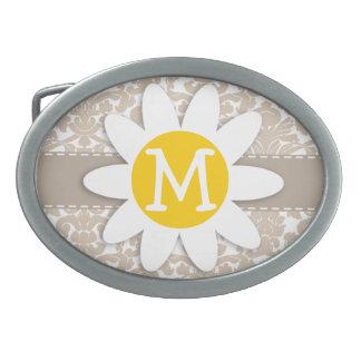 Cute Daisy; Almond Color Damask Pattern Oval Belt Buckle