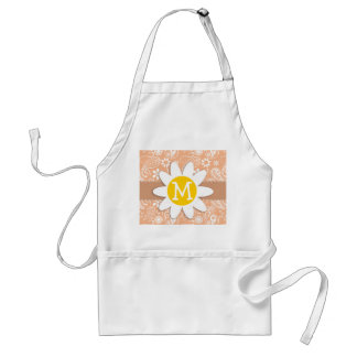Cute Daisy; Apricot Color Paisley; Floral Adult Apron