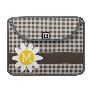 Cute Daisy; Bistre Brown Gingham; Checkered MacBook Pro Sleeve