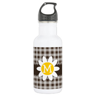 Cute Daisy; Bistre Brown Gingham; Checkered Water Bottle