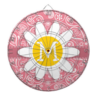 Cute Daisy; Blush Pink Paisley; Floral Dartboard With Darts