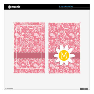 Cute Daisy Blush Pink Paisley Floral Skin For Kindle Fire