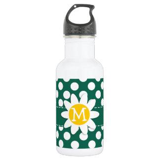 Cute Daisy; Bottle Green Polka Dots 18oz Water Bottle