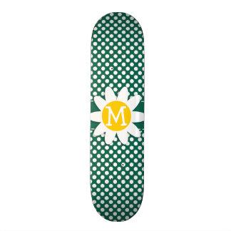 Cute Daisy; Bottle Green Polka Dots Skateboard Decks