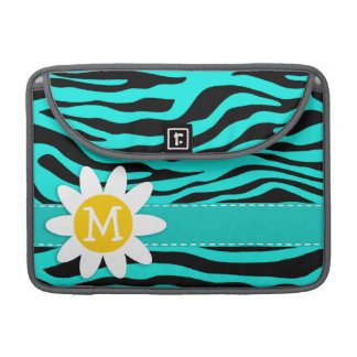Cute Daisy; Bright Turquoise Zebra Animal Print MacBook Pro Sleeve