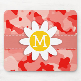 Cute Daisy; Coral Pink Camo; Camouflage Mouse Pad