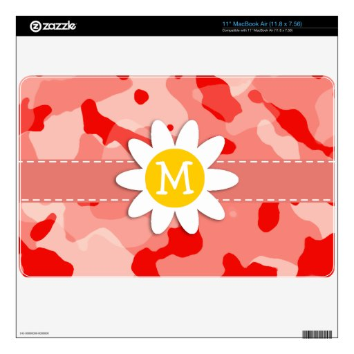Cute Daisy; Coral Pink Camo; Camouflage Skin For The MacBook Air