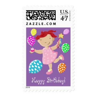 Cute Daisy Cupcake Girl Balloons Happy Birthday Postage