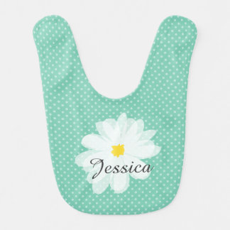 Cute daisy flower baby bib with girls name