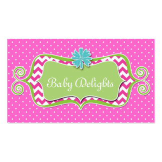 Cute Daisy Flower Dots Chevron Pattern Bold Double-Sided Standard Business Cards (Pack Of 100)