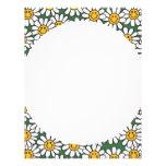 Cute Daisy Flower Pattern Letterhead Template