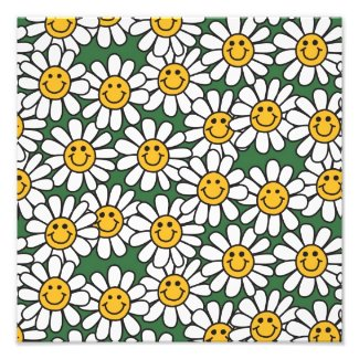 Cute Daisy Flower Pattern Photographic Print