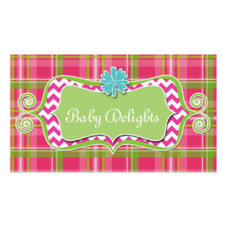 Cute Daisy Flower Plaid Chevron Pattern Bold Double-Sided Standard Business Cards (Pack Of 100)