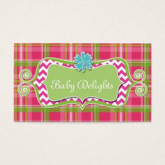 Cute Daisy Flower Plaid Chevron Pattern Bold Business Card