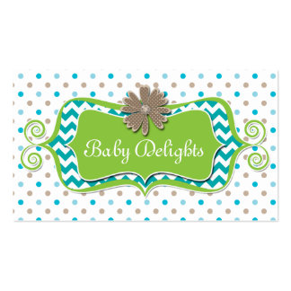 Cute Daisy Flower Polka Dot Chevron Pattern Bold Double-Sided Standard Business Cards (Pack Of 100)
