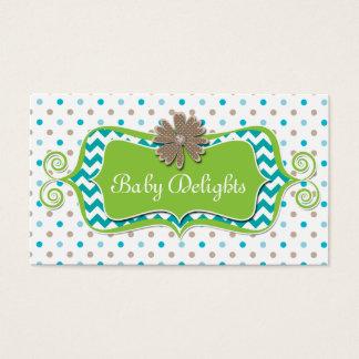 Cute Daisy Flower Polka Dot Chevron Pattern Bold Business Card