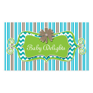 Cute Daisy Flower Stripes Chevron Pattern Bold Double-Sided Standard Business Cards (Pack Of 100)