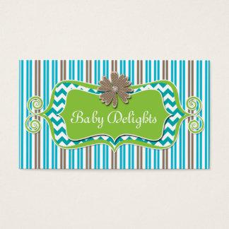 Cute Daisy Flower Stripes Chevron Pattern Bold Business Card