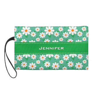 Cute Daisy Flowers with Custom Name | Wristlet