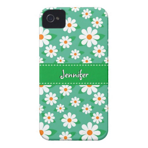 Cute Daisy Flowers with Green Stitched Ribbon | iPhone 4 Cases