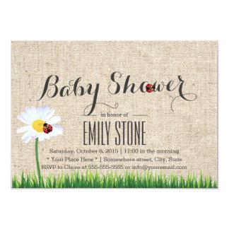 Cute Daisy & Ladybugs Burlap Baby Shower Card