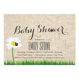 "Cute Daisy & Ladybugs Burlap Baby Shower 5"" X 7"" Invitation Card"