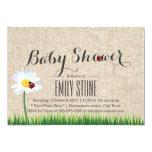 Cute Daisy & Ladybugs Burlap Baby Shower Invites