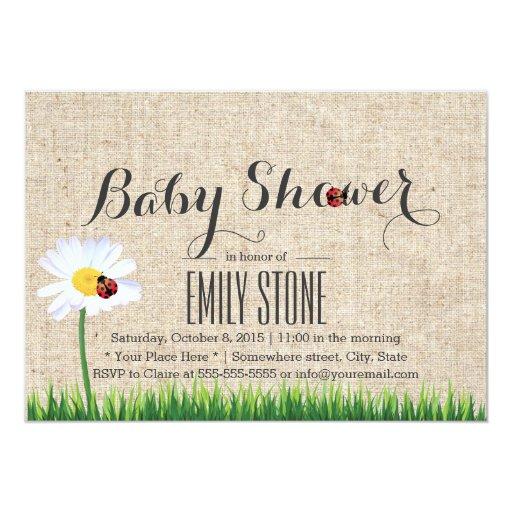 daisy ladybugs burlap baby shower 5x7 paper invitation card zazzle