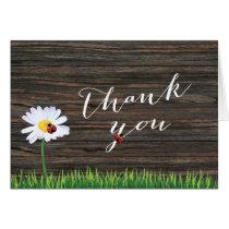 Cute Daisy & Ladybugs Wood Background Thank You Card