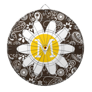 Cute Daisy on Bistre Brown Paisley Dartboards
