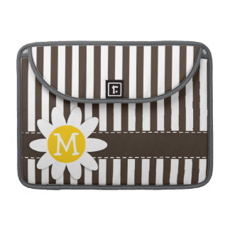 Cute Daisy on Bistre Brown Stripes; Striped MacBook Pro Sleeve