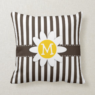 Cute Daisy on Bistre Brown Stripes; Striped Pillow