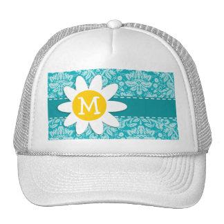 Cute Daisy on Blue-Green Damask Pattern Trucker Hat