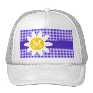Cute Daisy on Blue Violet Gingham Hat