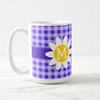 Cute Daisy on Blue Violet Gingham Mug