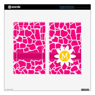 Cute Daisy on Bright Pink Giraffe Animal Print Decals For Kindle Fire