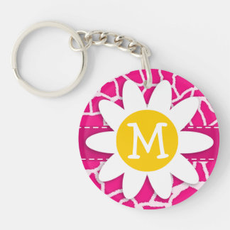 Cute Daisy on Bright Pink Giraffe Animal Print Keychain