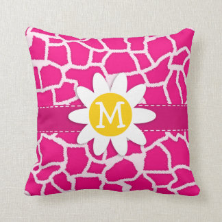 Cute Daisy on Bright Pink Giraffe Animal Print Throw Pillow