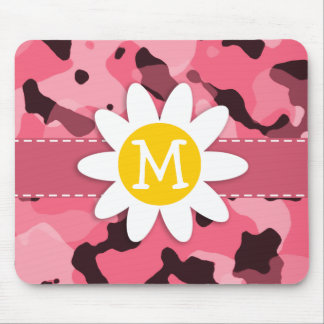Cute Daisy on Brink Pink Camo; Camouflage Mouse Pad