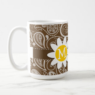 Cute Daisy on Brown Paisley Coffee Mug