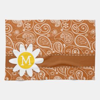 Cute Daisy on Burnt Orange Paisley; Floral Towels
