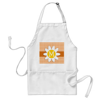 Cute Daisy on Cadmium Orange Houndstooth Adult Apron