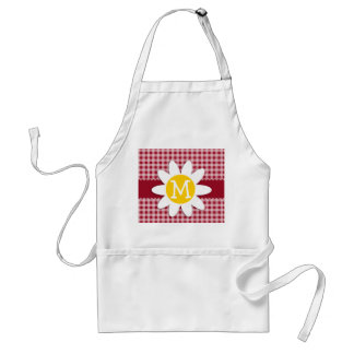 Cute Daisy on Carmine Red Gingham; Checkered Adult Apron
