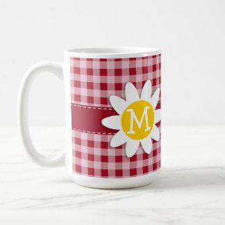 Cute Daisy on Carmine Red Gingham; Checkered Coffee Mug
