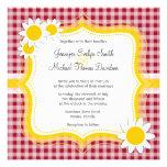 Cute Daisy on Carmine Red Gingham; Checkered Custom Invitations