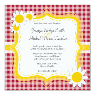Cute Daisy on Carmine Red Gingham; Checkered 5.25x5.25 Square Paper Invitation Card