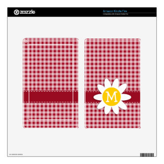 Cute Daisy on Carmine Red Gingham; Checkered Skin For Kindle Fire