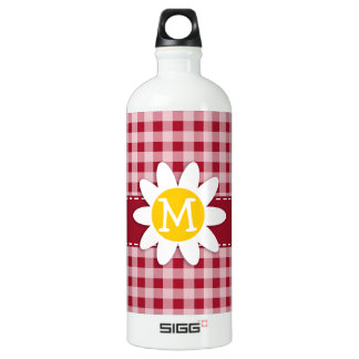 Cute Daisy on Carmine Red Gingham; Checkered Water Bottle